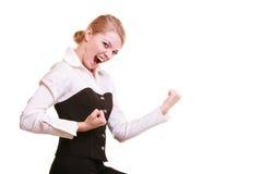 Succès dans le travail Femme d'affaires célébrant la promotion Photographie stock
