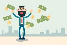 Succès de finances de Rich Business Man Throw Money Image libre de droits