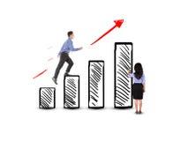 Succès de marche d'homme d'affaires sur des escaliers de bénéfice Images stock