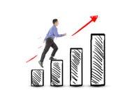 Succès de marche d'homme d'affaires sur le diagramme de bénéfice Images stock