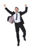 Succès enthousiaste de célébration d'homme d'affaires Image libre de droits