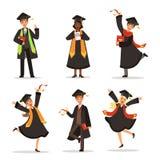 Succès et étudiants heureux Obtention du diplôme dans différents pays Positionnement du travail du vecteur characters Photos stock