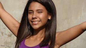 Succès ou Victory And Teen Girl image libre de droits
