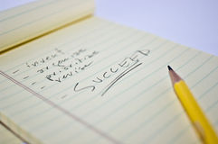 Succeed 1. Pencilled notes leading to success Royalty Free Stock Images