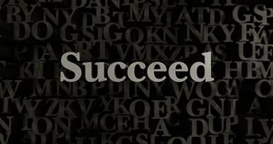 Succeed - 3D rendered metallic typeset headline illustration. Can be used for an online banner ad or a print postcard vector illustration