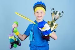 Succeed in everything. Athlete successful boy sport equipment jump rope boxing glove tennis racket roller skate and. Golden goblet. Success and award. Success stock photos