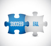 Succeed and fail puzzle pieces sign illustration. Design over white stock illustration