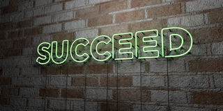 SUCCEED - Glowing Neon Sign on stonework wall - 3D rendered royalty free stock illustration. Can be used for online banner ads and direct mailers royalty free illustration