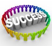 Succeed - People Surrounding Word Stock Image