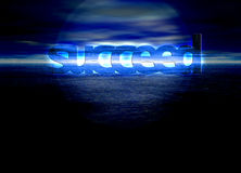Succeed Text on Blue Bright Ocean Sea at Night Royalty Free Stock Images