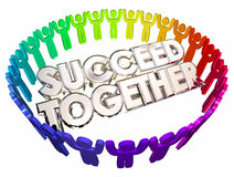 Succeed Together People Working Cooperation. 3d Illustration stock illustration