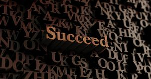 Succeed - Wooden 3D rendered letters/message. Can be used for an online banner ad or a print postcard vector illustration