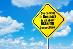 Succeeding in business in all about making connections. Road sign and blue sky Stock Image