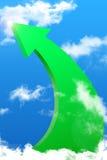 Succes arrow. Green arrow on the sky Stock Images
