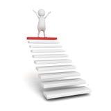Succes 3d persoon op de bovenkant van stappen of tredeladder vector illustratie
