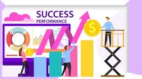 Succes en motivatie Zaken Team Success Flat Poster Ambitie als klimgrafiek of voltooiing van doel E royalty-vrije illustratie