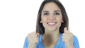 Succes, en succesvol Bedrijfsvrouw die toejuichen vieren stock footage