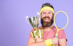 Succes en voltooiing Het spel van het winsttennis Win elke tennisgelijke ik aan deelneem De winstkampioenschap van de tennisspele royalty-vrije stock fotografie