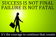 Succes failure courage. Having courage being more important than succeeding all the time Stock Photos