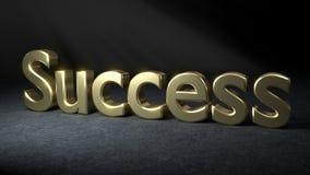 SUCCES in gouden 3D brieven wordt geschreven die Stock Afbeelding