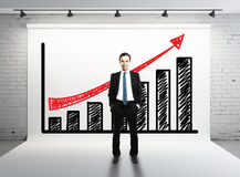 Succes graph. Man and succes graph on white backdrop Stock Image