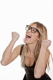 Succes, het succesvolle vrouw vieren Royalty-vrije Stock Afbeelding