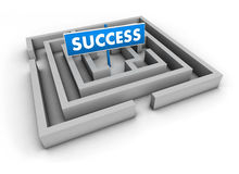 Succes Labyrinth. Success concept with labyrinth and blue goal sign on white background Royalty Free Stock Photography