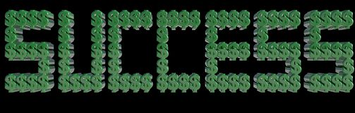 SUCCES met 3D Dollartekens wordt geschreven die brieven maken die 3d geef terug Stock Afbeelding