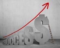 Succes met 3D woord van het geldsymbool, ladder en het groeien pijl Royalty-vrije Stock Afbeeldingen