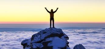 Succes na górze горы Стоковая Фотография