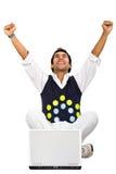 Succes op Internet - mens Royalty-vrije Stock Afbeeldingen