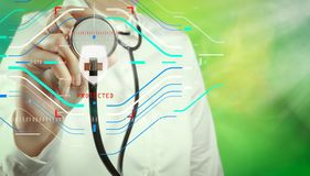 succes slimme medische arts die met aardachtergrond als c werken vector illustratie