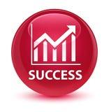 Succes (statistiekenpictogram) glazige roze ronde knoop Stock Foto's