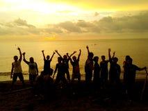 Succes Team Work Silhouette Royalty-vrije Stock Foto's