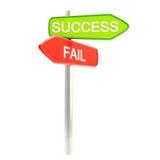 Succes tegenover mislukking als roadsign post Stock Foto's