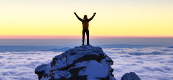 Succes on top of the mountain Stock Photography
