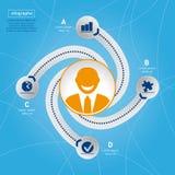 Succes in zaken. Informatie grafisch malplaatje. Stock Afbeeldingen