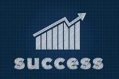 Succesconcept met grafiek op blauwdruk Royalty-vrije Stock Afbeeldingen
