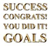 Succesdoelstellingen de Gouden Tekst van Congrats Royalty-vrije Stock Fotografie