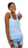 Succesful African American student holding thumbs up white backg Stock Photos