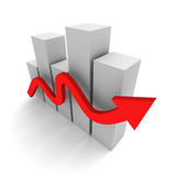 Succesful business bar graph with rising up red arrow Stock Photography
