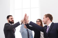 Team put hands together, connection, teambuilding and alliance concept. Royalty Free Stock Photo