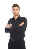 Succesful businessman. Young succesful businessman on white background royalty free stock photo