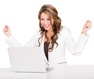 Succesful businesswoman with a laptop Royalty Free Stock Photography