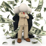 Succesful 3d business team - money rain. 3d rendered confident and succesful business team standing back to back in US Dollar money rain Stock Image