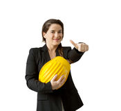 Succesful female engineer with safety helmet over white backgrou Stock Photo