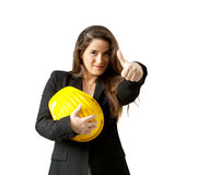 Succesful female engineer with safety helmet  over white Royalty Free Stock Image