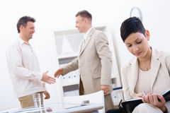 Succesful job interview stock photography
