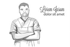 Succesful self confident doctor smiling Vector sketch storyboard. Detailed character illustrations. Succesful self confident doctor smiling Vector sketch vector illustration