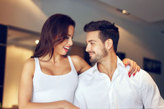 Succesful young couple at home Royalty Free Stock Image